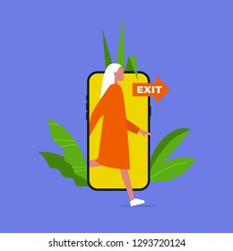 Digital detox. Young caucasian female character stepping out of the mobile phone screen. Modern lifestyle. Millennial user. Flat editable vector illustration, clip art