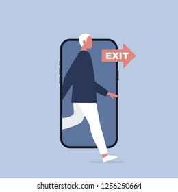 Digital detox. Young character stepping out of the mobile phone screen. Modern lifestyle. Millennial user. Flat editable vector illustration, clip art