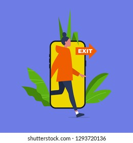 Digital detox. Young female character stepping out of the mobile phone screen. Modern lifestyle. Millennial user. Flat editable vector illustration, clip art