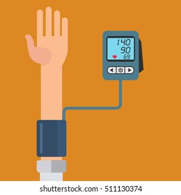 Digital device for measuring blood pressure, sphygmomanometer, high blood pressure vector concept