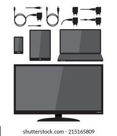 Digital devices, cable, charger, plug, cell phone, tablet, laptop and television