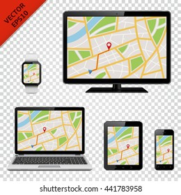 Digital devices with GPS map on screen