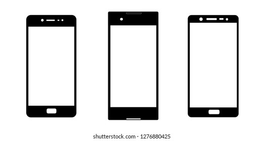 Digital devices icons: line of smartphones with button isolated on white background. Vector design set element illustration for web, apps, internet