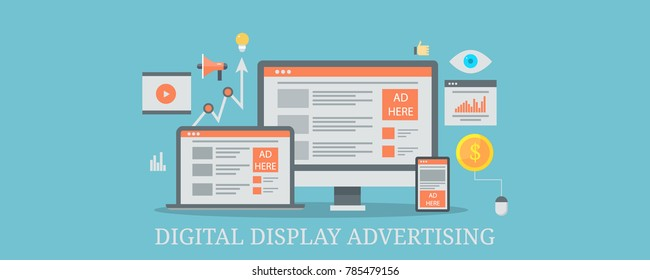 Digital display advertising, Internet marketing, Cross-device marketing flat vector banner with icons