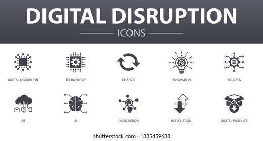 digital disruption simple concept icons set. Contains such icons as technology, innovation, IOT, digitization and more, can be used for web, logo, UI/UX