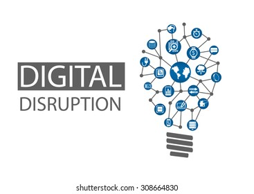 Digital disruption vector illustration. Concept of disruptive business ideas like computing everywhere, analytics, smart machines, cloud, web-scale IT, mobility, internet of things (IOT)