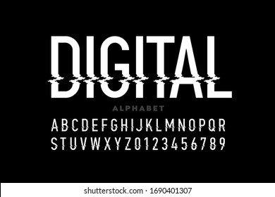 Digital distortion style font, capital letters and numbers vector illustration
