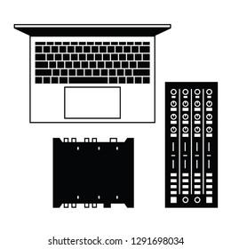 Digital DJ equipment flat vector pictogram.
