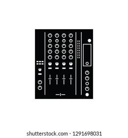 Digital DJ mixer flat vector pictogram.