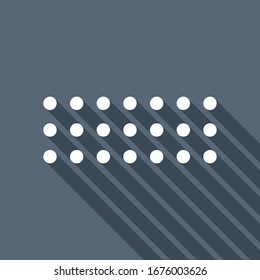 Digital dotted minus, negative symbol. White flat icon with long shadow on blue background