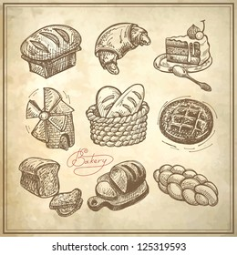 digital drawing bakery icon set on grunge paper background