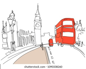 digital drawing of London Tower street with red bus and Big Ben in minimalistic style, line art vector illustration