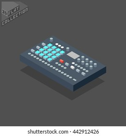 Digital Drum Machine Groovebox. Musical Equipment. 3D Isometric Low Poly Flat Design. Vector illustration.