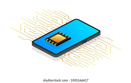 Digital e sim chip motherboard digital chip. Modern icon. White background. Vector template. Communication icon symbol.