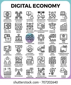 Digital economy business concept detailed line icons set in modern line icon style for ui, ux, website, web, app graphic design