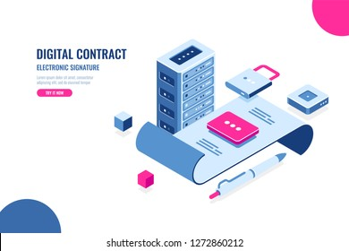 Digital electronic contract and signature of document, isometric icon, datacenter concept, server room, file on lock, data security and protection, flat vector illustration