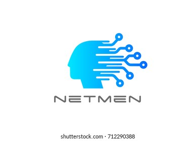 Digital Electronics Chip Human Head Logo design vector template. Artificial Intelligence technology Logotype concept icon.