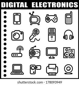 Digital electronics icon set