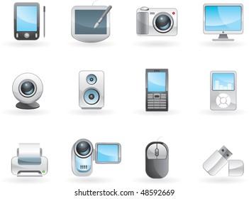 Digital electronics icon set. Vector.