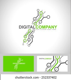 Digital electronics logo design. Creative electronic circuits logo vector