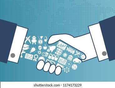 Digital enabled global trade concept with illustration of handshake between business men.