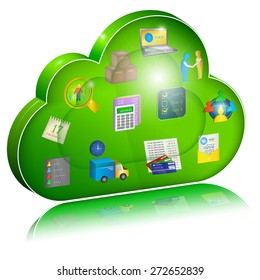 Digital enterprise management in cloud application. Concept icon. Vector illustration, isolated on white background.