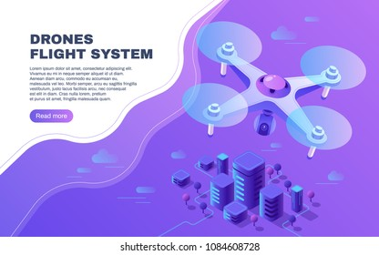 Digital entertainment flight drone, aerial photo surveillance copter or delivery  flying above city vector illustration. 3d isometric banner with drone