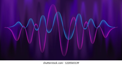 Digital equalizer sound wave vector illustration. Music neon background. Illuminated digital audio wave of glowing particles. Sound frequency waveform. Dynamic light flow with neon light effect.