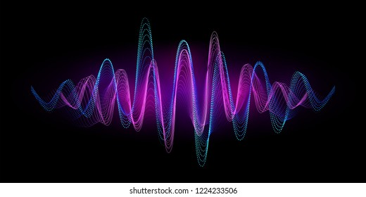 Digital equalizer sound wave vector illustration. Music neon background. Illuminated digital wave of glowing particles. HUD element technology concept. Dynamic light flow with neon light effect.