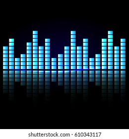 Digital equalizer sound waves. abstract vector illustration