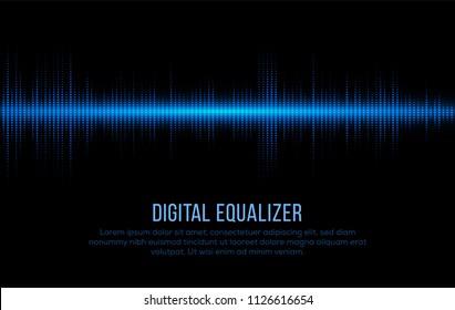 Digital Equalizer. Soundwave Form Visualization. Sound Pulse. Audio Vibrations. Vector Illustration.
