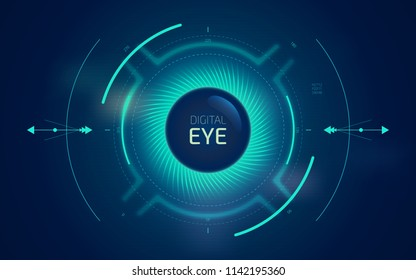 Digital eye HUD UI. Sci-fi futuristic user interface. Technology background. Spy artificial intelligence concept. Virtual surveillance system screen. Vector illustration