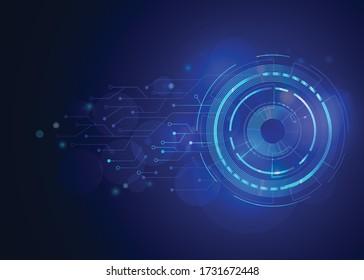 Digitale Augenvektoren und Hintergrund der blauen Zukunft