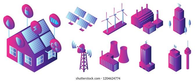 Digital factory isometric icon set. Illustration of digital factory isometric vector icons for web design