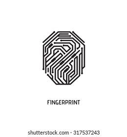 Digital fingerprint. Black and white vector element.