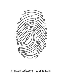 Digital Fingerprint in white background