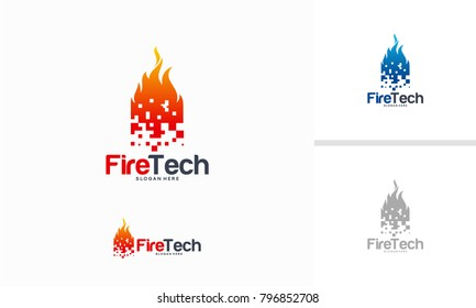 Digital Fire logo designs concept, Pixel Fire logo designs template, Flame logo designs symbol
