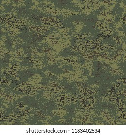 Digital flora. Camouflage seamless pattern incorporating tiny pixels of black, brown and foliage green on a pale green background.