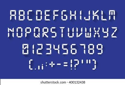 Digital font in a flat design, each letter separately, vector illustartion