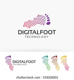 Digital foot, technology, network vector logo template.