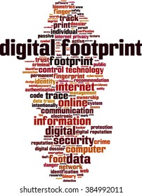 Digital footprint word cloud concept. Vector illustration