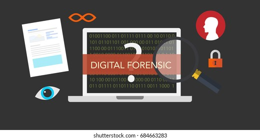 Digital forensics concept illustration is a branch of forensic science encompassing the recovery and investigation of material found in digital devices, often in relation to computer crime.