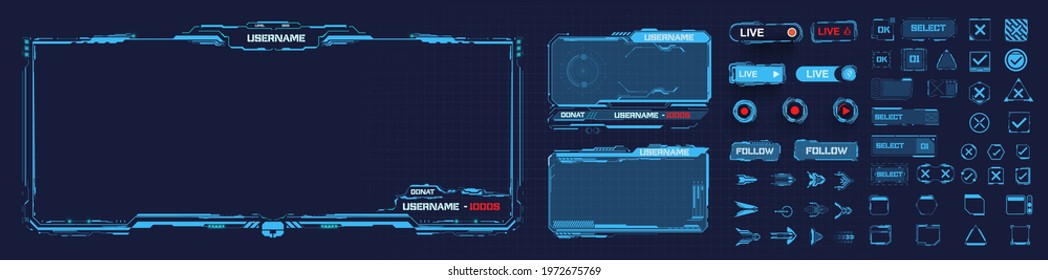 Digital frame technology UI,UX Futuristic HUD, FUI, Virtual Interface. A design template for a set of frames , buttons, and overlay cursors for game streaming. Futuristic info boxes layout templates.