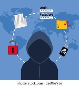 Digital fraud and hacking design, vector illustration.