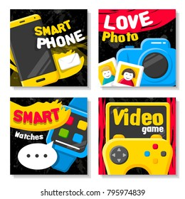 Digital gadgets and devices. Video game controller, smartphone, photo camera and smart watches. Covers template modern set.