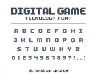 Digital game technology font. Geometric, futuristic, techno alphabet. Retro letters and numbers for video, computer, mobile app logo design. Pixel art, 8 bit electronic entertainment vector typeface