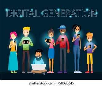 Digital Generation Internet Addiction Procrastination Time Waste Modern Kids Millennial Guy. People with Smartphone, Laptop and Tablet. Vector Art Design Illustration.