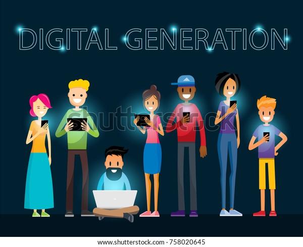 Digital Generation Internet Addiction Procrastination Time Waste Modern Kids Millennial Guy. People with Smartphone, Laptop and Tablet. Vector Art Design Illustration.