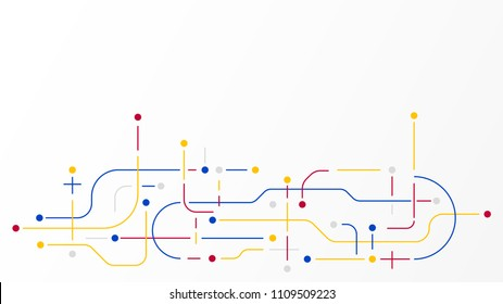 Digital geometric data network  elements abstract background