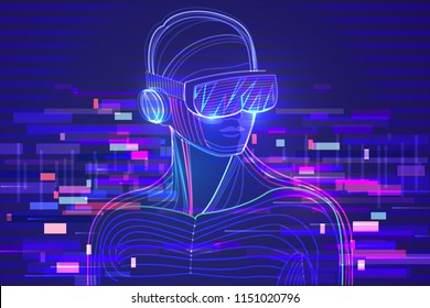Digital glitch effect in abstract virtual reality. Man wearing vr headset. Vector illustration